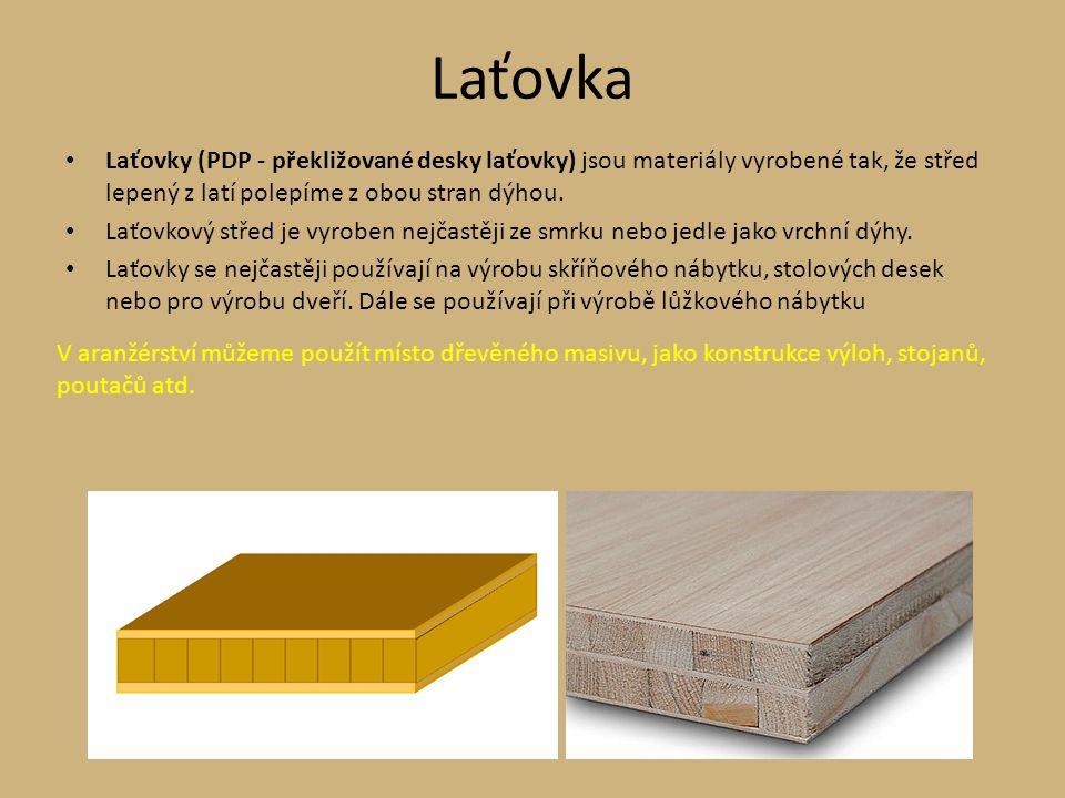 Laťovka Laťovky (PDP - překližované desky laťovky) jsou materiály vyrobené tak, že střed lepený z latí polepíme z obou stran dýhou. Laťovkový střed je
