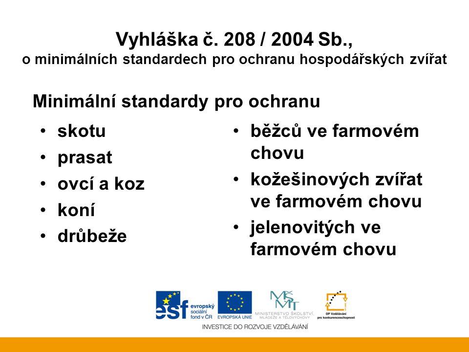 Vyhláška č. 208 / 2004 Sb., o minimálních standardech pro ochranu hospodářských zvířat Minimální standardy pro ochranu skotu prasat ovcí a koz koní dr