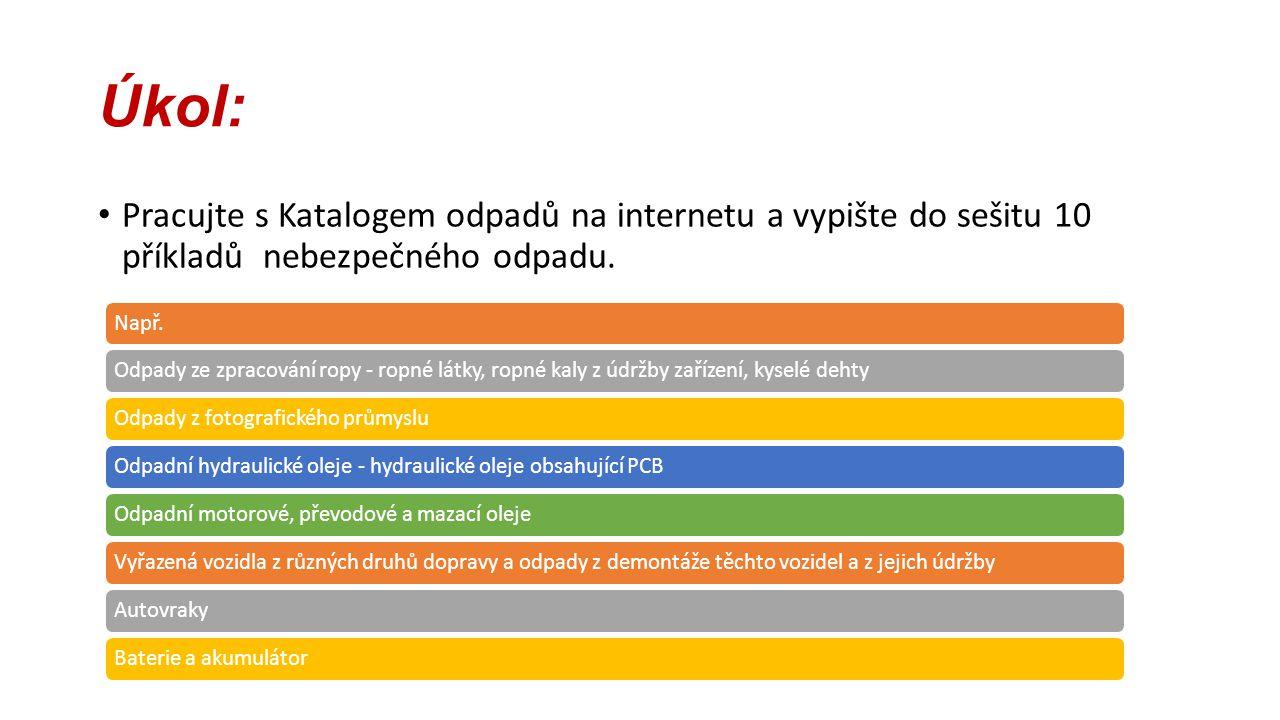 Úkol: Pracujte s Katalogem odpadů na internetu a vypište do sešitu 10 příkladů nebezpečného odpadu.