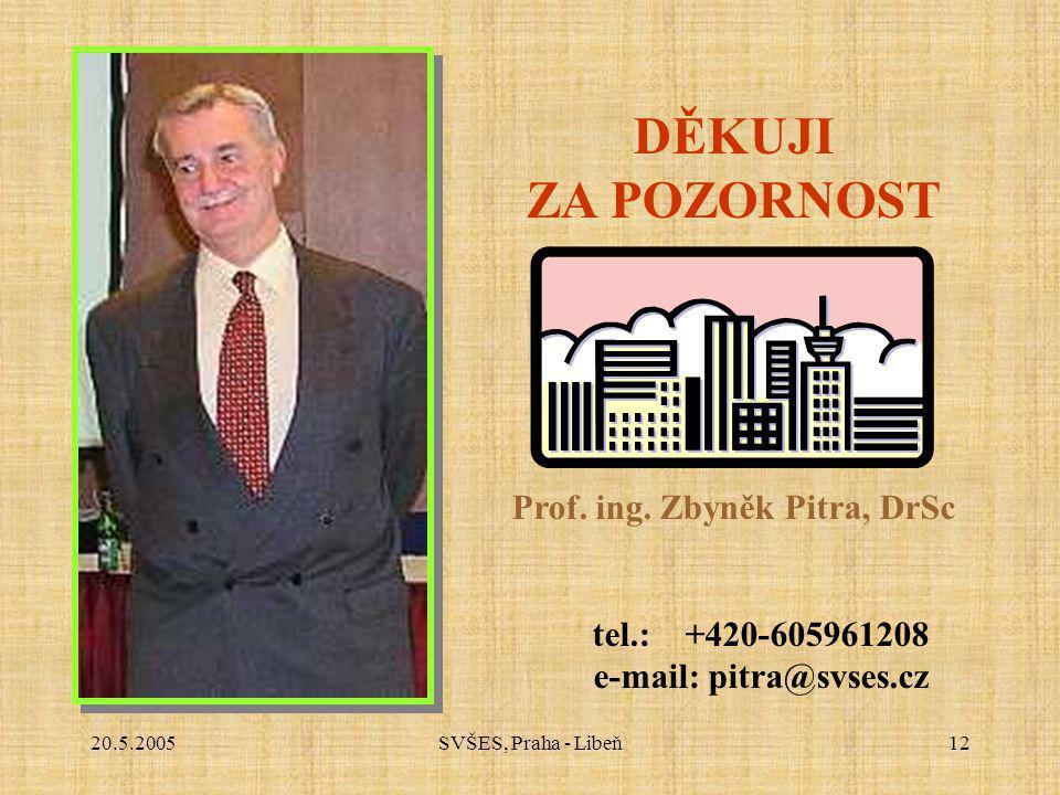 20.5.2005SVŠES, Praha - Libeň12 DĚKUJI ZA POZORNOST Prof. ing. Zbyněk Pitra, DrSc tel.: +420-605961208 e-mail: pitra@svses.cz