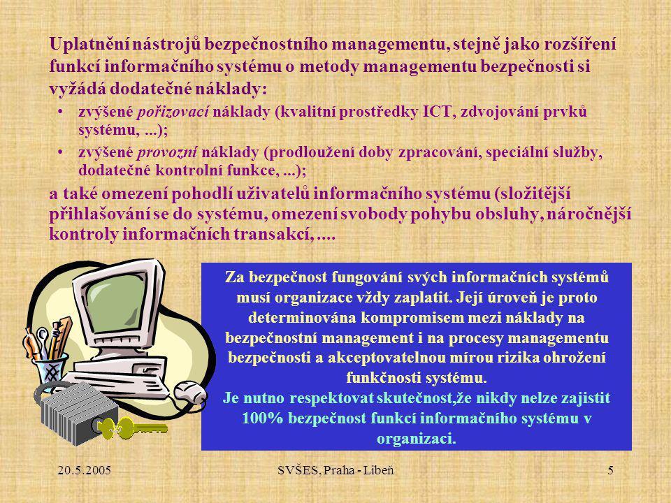 20.5.2005SVŠES, Praha - Libeň5 Uplatnění nástrojů bezpečnostního managementu, stejně jako rozšíření funkcí informačního systému o metody managementu bezpečnosti si vyžádá dodatečné náklady: zvýšené pořizovací náklady (kvalitní prostředky ICT, zdvojování prvků systému,...); zvýšené provozní náklady (prodloužení doby zpracování, speciální služby, dodatečné kontrolní funkce,...); a také omezení pohodlí uživatelů informačního systému (složitější přihlašování se do systému, omezení svobody pohybu obsluhy, náročnější kontroly informačních transakcí,....