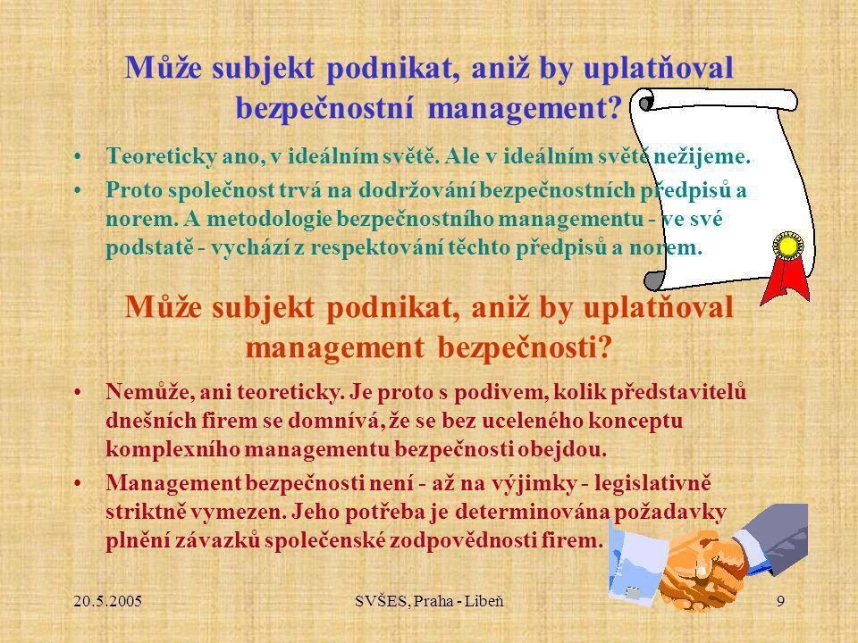 20.5.2005SVŠES, Praha - Libeň9 Může subjekt podnikat, aniž by uplatňoval bezpečnostní management? Teoreticky ano, v ideálním světě. Ale v ideálním svě