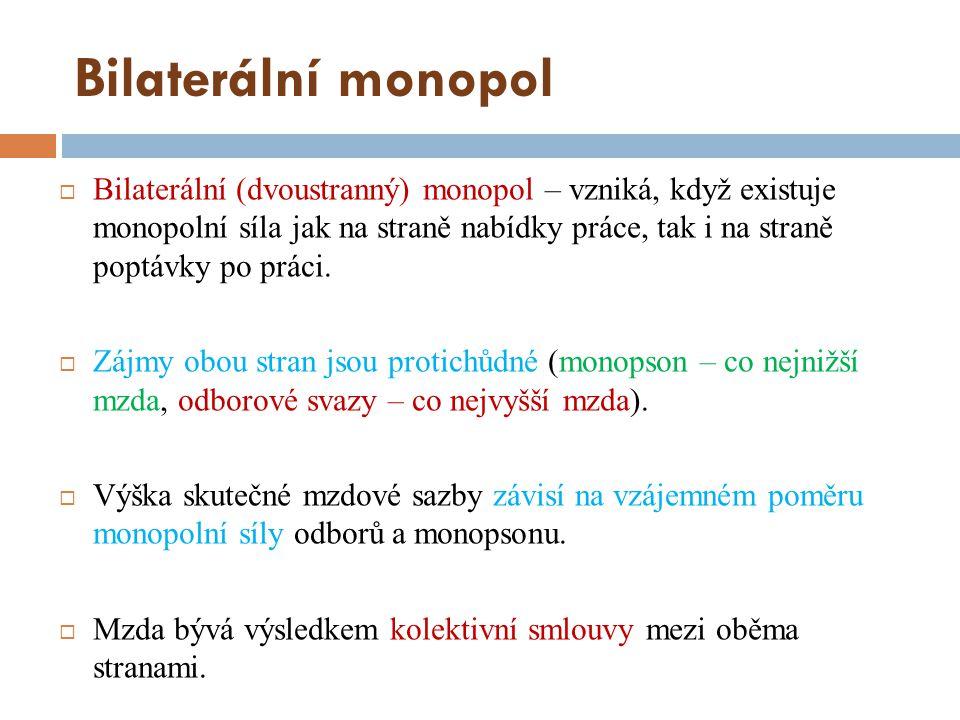 Bilaterální monopol  Bilaterální (dvoustranný) monopol – vzniká, když existuje monopolní síla jak na straně nabídky práce, tak i na straně poptávky p