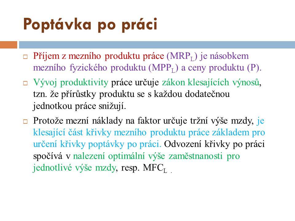 Poptávka po práci  Příjem z mezního produktu práce (MRP L ) je násobkem mezního fyzického produktu (MPP L ) a ceny produktu (P).  Vývoj produktivity