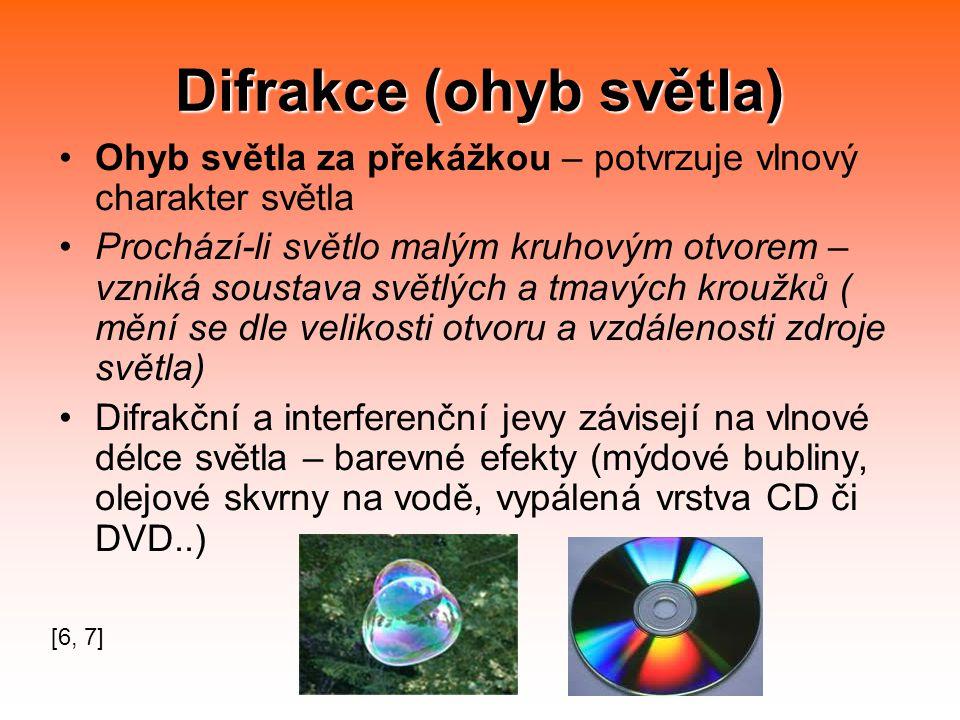 Difrakce (ohyb světla) Ohyb světla za překážkou – potvrzuje vlnový charakter světla Prochází-li světlo malým kruhovým otvorem – vzniká soustava světlých a tmavých kroužků ( mění se dle velikosti otvoru a vzdálenosti zdroje světla) Difrakční a interferenční jevy závisejí na vlnové délce světla – barevné efekty (mýdové bubliny, olejové skvrny na vodě, vypálená vrstva CD či DVD..) [6, 7]