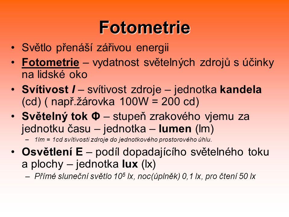 Fotometrie Světlo přenáší zářivou energii Fotometrie – vydatnost světelných zdrojů s účinky na lidské oko Svítivost I – svítivost zdroje – jednotka kandela (cd) ( např.žárovka 100W = 200 cd) Světelný tok Φ – stupeň zrakového vjemu za jednotku času – jednotka – lumen (lm) –1lm = 1cd svítivosti zdroje do jednotkového prostorového úhlu.