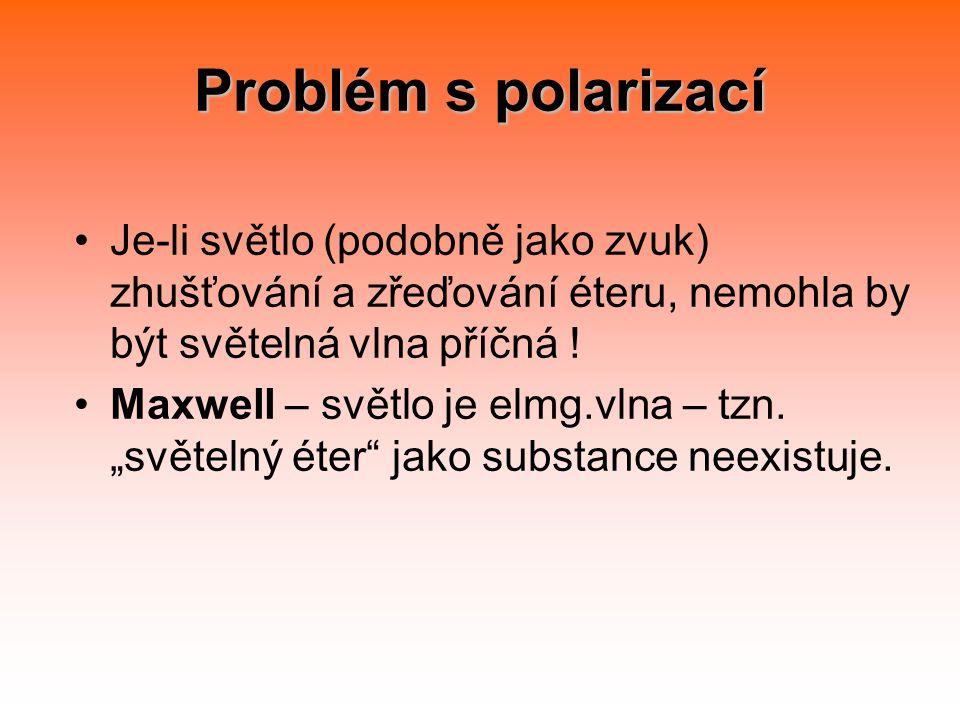 Problém s polarizací Je-li světlo (podobně jako zvuk) zhušťování a zřeďování éteru, nemohla by být světelná vlna příčná .