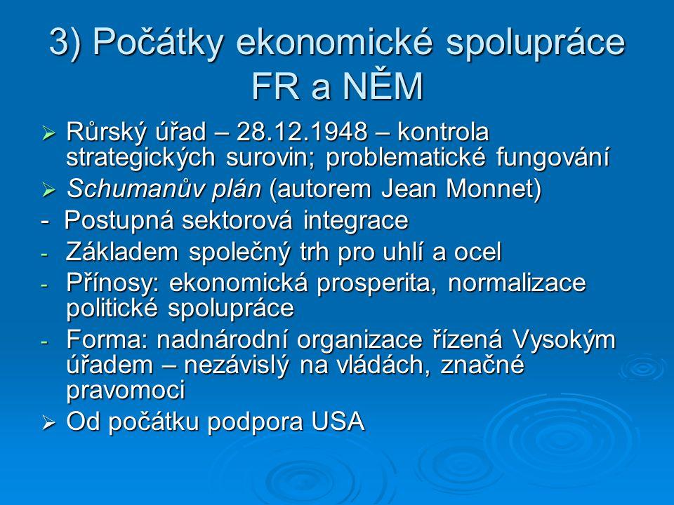 3) Počátky ekonomické spolupráce FR a NĚM  Růrský úřad – 28.12.1948 – kontrola strategických surovin; problematické fungování  Schumanův plán (autor