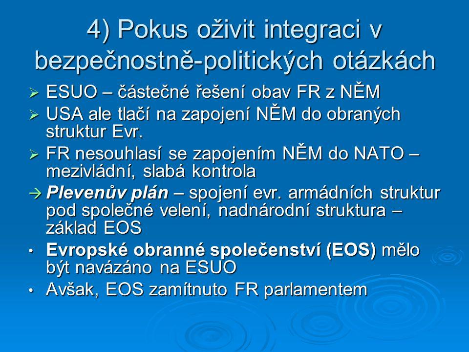 4) Pokus oživit integraci v bezpečnostně-politických otázkách  ESUO – částečné řešení obav FR z NĚM  USA ale tlačí na zapojení NĚM do obraných struk