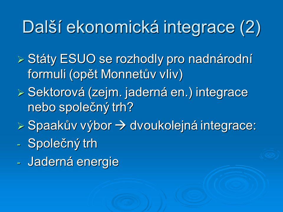 Další ekonomická integrace (2)  Státy ESUO se rozhodly pro nadnárodní formuli (opět Monnetův vliv)  Sektorová (zejm. jaderná en.) integrace nebo spo