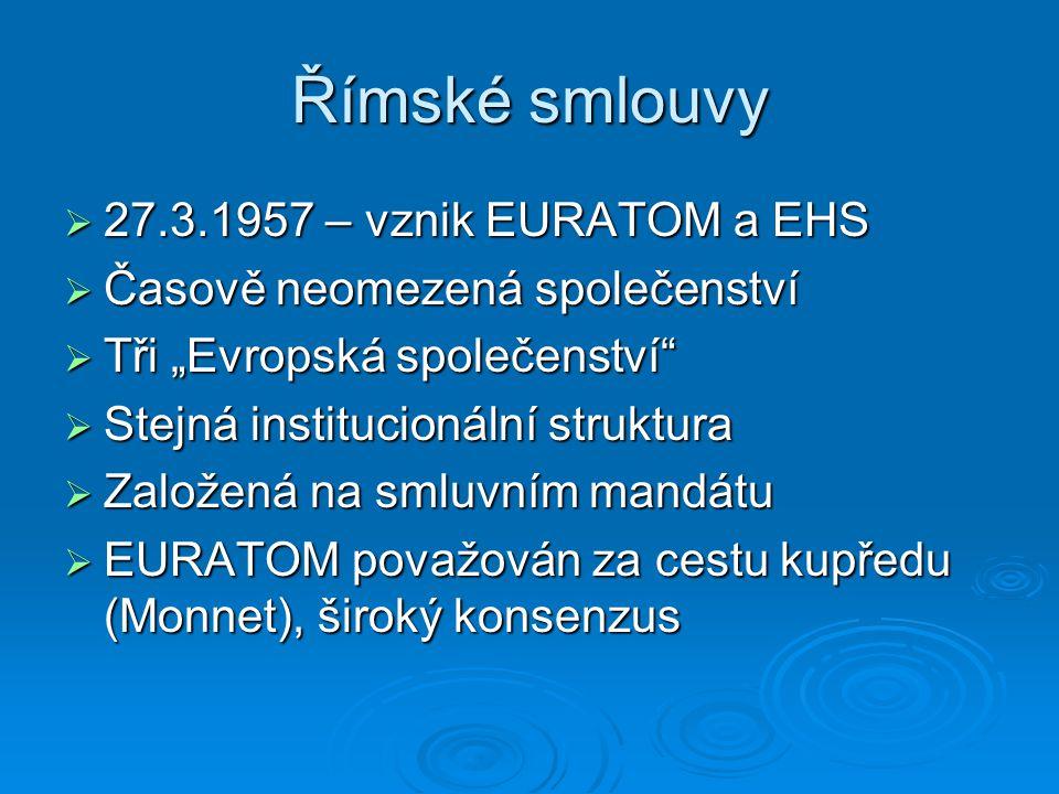"""Římské smlouvy  27.3.1957 – vznik EURATOM a EHS  Časově neomezená společenství  Tři """"Evropská společenství""""  Stejná institucionální struktura  Za"""