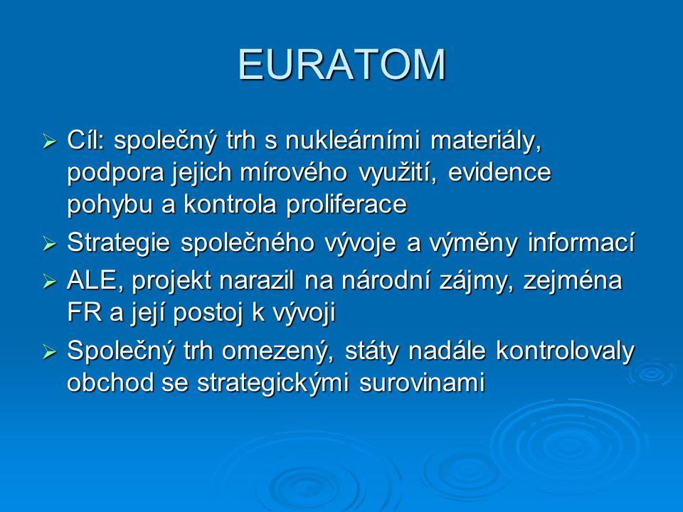 EURATOM  Cíl: společný trh s nukleárními materiály, podpora jejich mírového využití, evidence pohybu a kontrola proliferace  Strategie společného vý