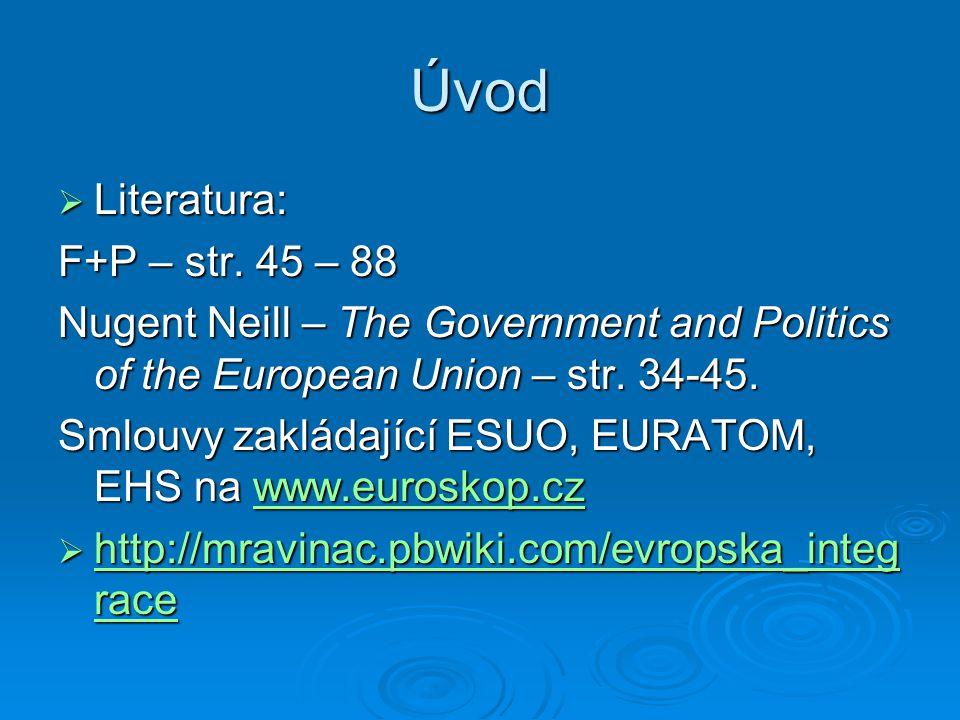 Evropské společenství uhlí a oceli (ESUO)  Pařížská smlouva 18.4.1951 – NĚM,FR,IT,BE,NE,LUX, uzavřena na 50 let  Nejednotnost ohledně pravomocí a institucionální struktury  výsledek – kompromis federativního a mezivládního pojetí:  Vysoký úřad – fed., Rada – mezivl.,  VÚ – hlavní exekutivní pravomoci v rámci smlouvy  Rada – schvalovala kroky VÚ, vyvažování vlivu velkých ČS  Shromáždění – slabé, jen kontrolní, členové nár.