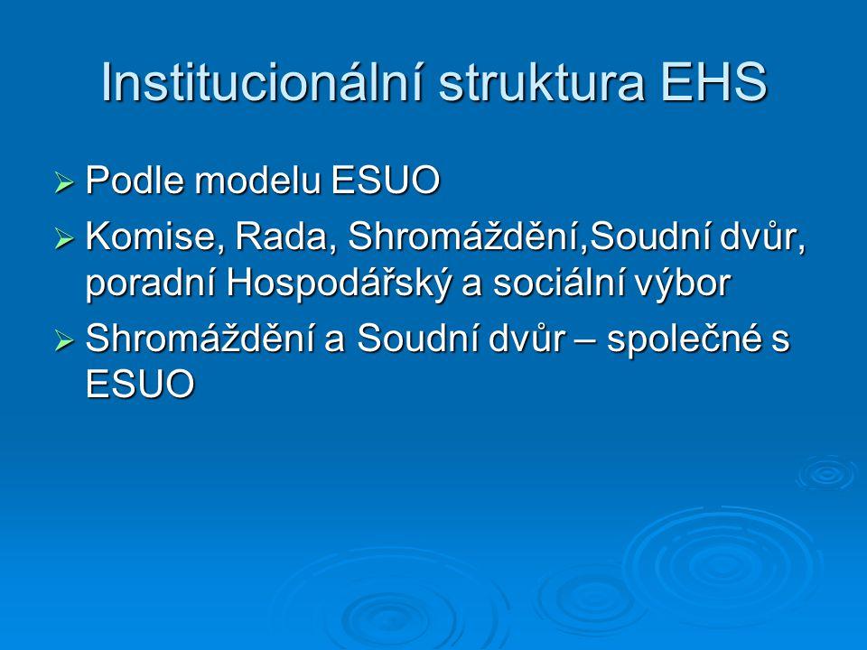 Institucionální struktura EHS  Podle modelu ESUO  Komise, Rada, Shromáždění,Soudní dvůr, poradní Hospodářský a sociální výbor  Shromáždění a Soudní