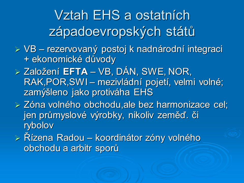 Vztah EHS a ostatních západoevropských států  VB – rezervovaný postoj k nadnárodní integraci + ekonomické důvody  Založení EFTA – VB, DÁN, SWE, NOR,