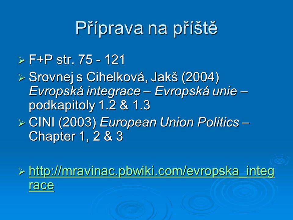 Příprava na příště  F+P str. 75 - 121  Srovnej s Cihelková, Jakš (2004) Evropská integrace – Evropská unie – podkapitoly 1.2 & 1.3  CINI (2003) Eur