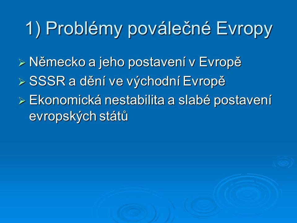 1) Problémy poválečné Evropy  Německo a jeho postavení v Evropě  SSSR a dění ve východní Evropě  Ekonomická nestabilita a slabé postavení evropskýc