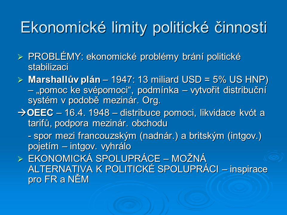 Ekonomické limity politické činnosti  PROBLÉMY: ekonomické problémy brání politické stabilizaci  Marshallův plán – 1947: 13 miliard USD = 5% US HNP)