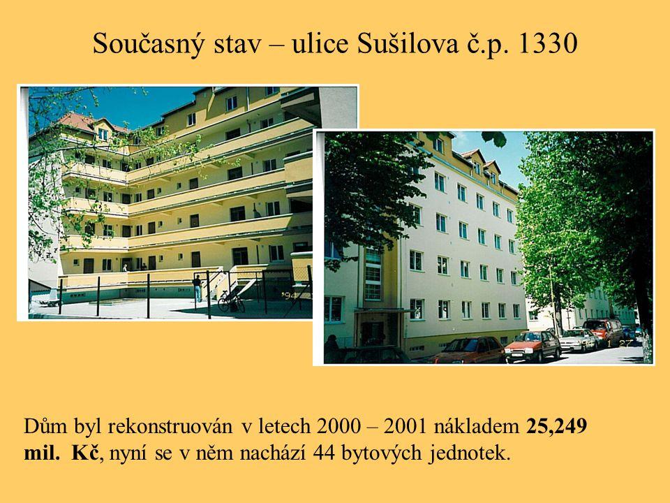 Současný stav – ulice Sušilova č.p. 1330 Dům byl rekonstruován v letech 2000 – 2001 nákladem 25,249 mil. Kč, nyní se v něm nachází 44 bytových jednote