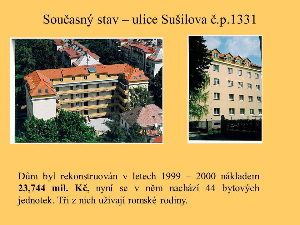 Současný stav – ulice Sušilova č.p.1331 Dům byl rekonstruován v letech 1999 – 2000 nákladem 23,744 mil. Kč, nyní se v něm nachází 44 bytových jednotek