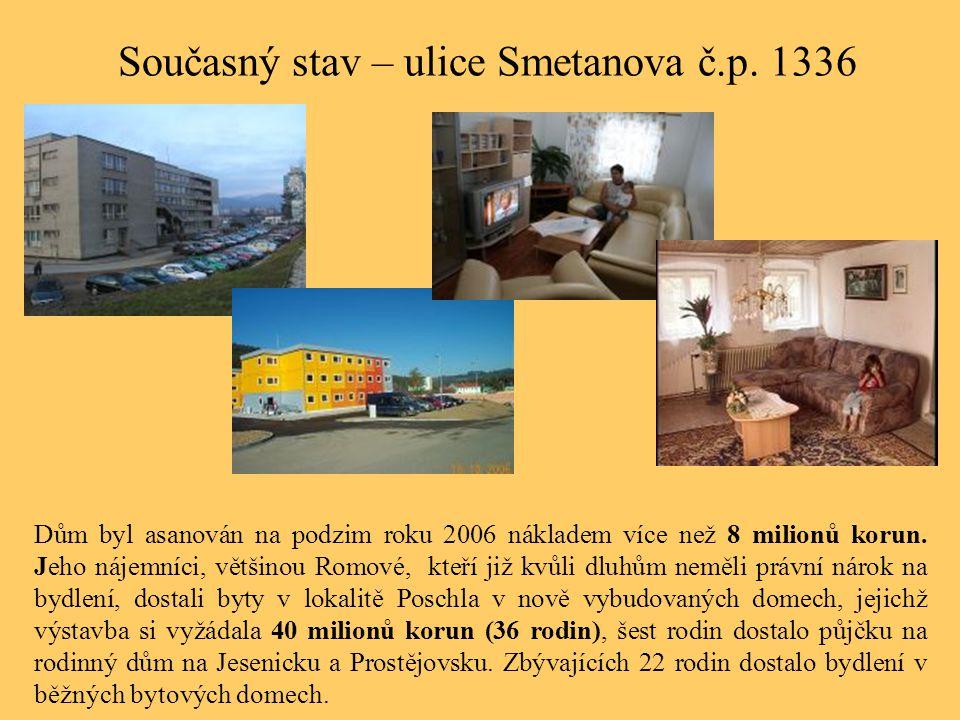Současný stav – ulice Smetanova č.p. 1336 Dům byl asanován na podzim roku 2006 nákladem více než 8 milionů korun. Jeho nájemníci, většinou Romové, kte