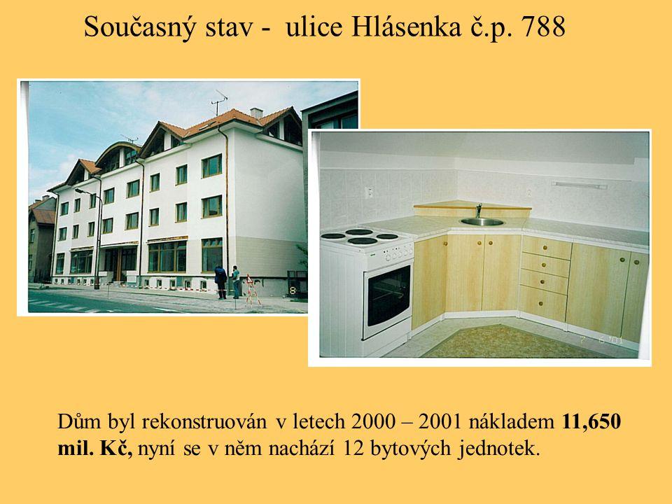 Současný stav - ulice Hlásenka č.p. 788 Dům byl rekonstruován v letech 2000 – 2001 nákladem 11,650 mil. Kč, nyní se v něm nachází 12 bytových jednotek