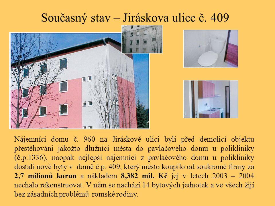 Současný stav – Jiráskova ulice č. 409 Nájemníci domu č. 960 na Jiráskově ulici byli před demolicí objektu přestěhováni jakožto dlužníci města do pavl