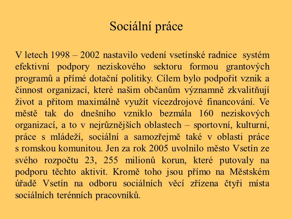 Sociální práce V letech 1998 – 2002 nastavilo vedení vsetínské radnice systém efektivní podpory neziskového sektoru formou grantových programů a přímé