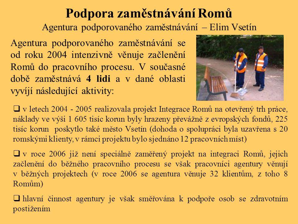Podpora zaměstnávání Romů Agentura podporovaného zaměstnávání – Elim Vsetín Agentura podporovaného zaměstnávání se od roku 2004 intenzivně věnuje začl