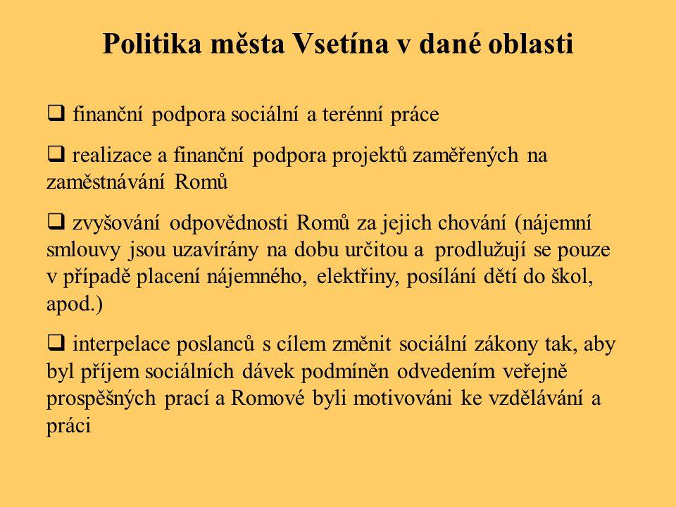 Politika města Vsetína v dané oblasti  finanční podpora sociální a terénní práce  realizace a finanční podpora projektů zaměřených na zaměstnávání R