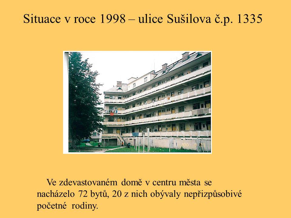 Situace v roce 1998 – ulice Sušilova č.p. 1335 Ve zdevastovaném domě v centru města se nacházelo 72 bytů, 20 z nich obývaly nepřizpůsobivé početné rod