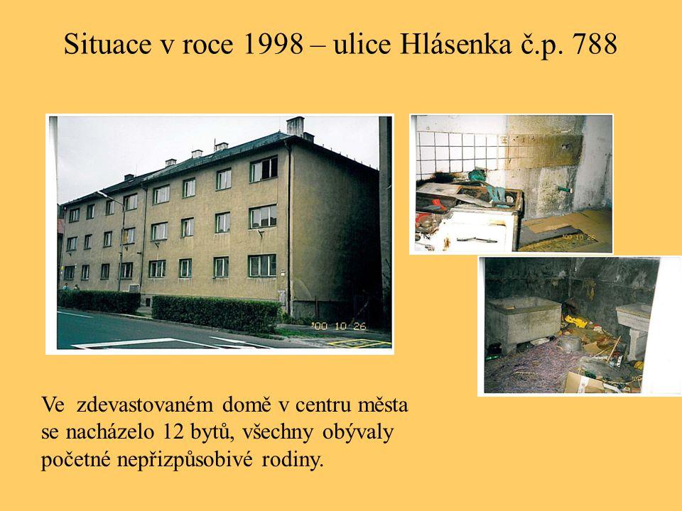 Situace v roce 1998 – ulice Hlásenka č.p. 788 Ve zdevastovaném domě v centru města se nacházelo 12 bytů, všechny obývaly početné nepřizpůsobivé rodiny