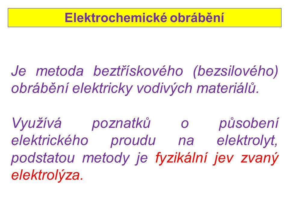 Elektrochemické obrábění Je metoda beztřískového (bezsilového) obrábění elektricky vodivých materiálů.