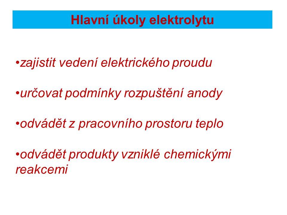 Hlavní úkoly elektrolytu zajistit vedení elektrického proudu určovat podmínky rozpuštění anody odvádět z pracovního prostoru teplo odvádět produkty vzniklé chemickými reakcemi