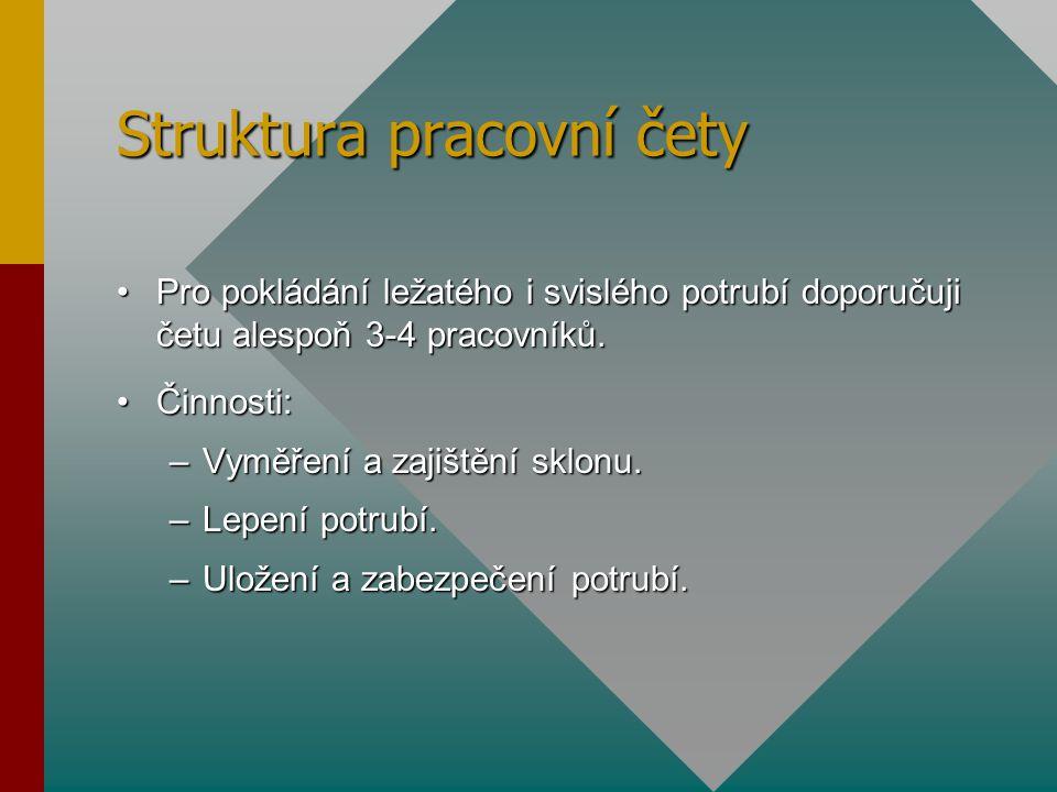 Struktura pracovní čety Pro pokládání ležatého i svislého potrubí doporučuji četu alespoň 3-4 pracovníků.Pro pokládání ležatého i svislého potrubí dop