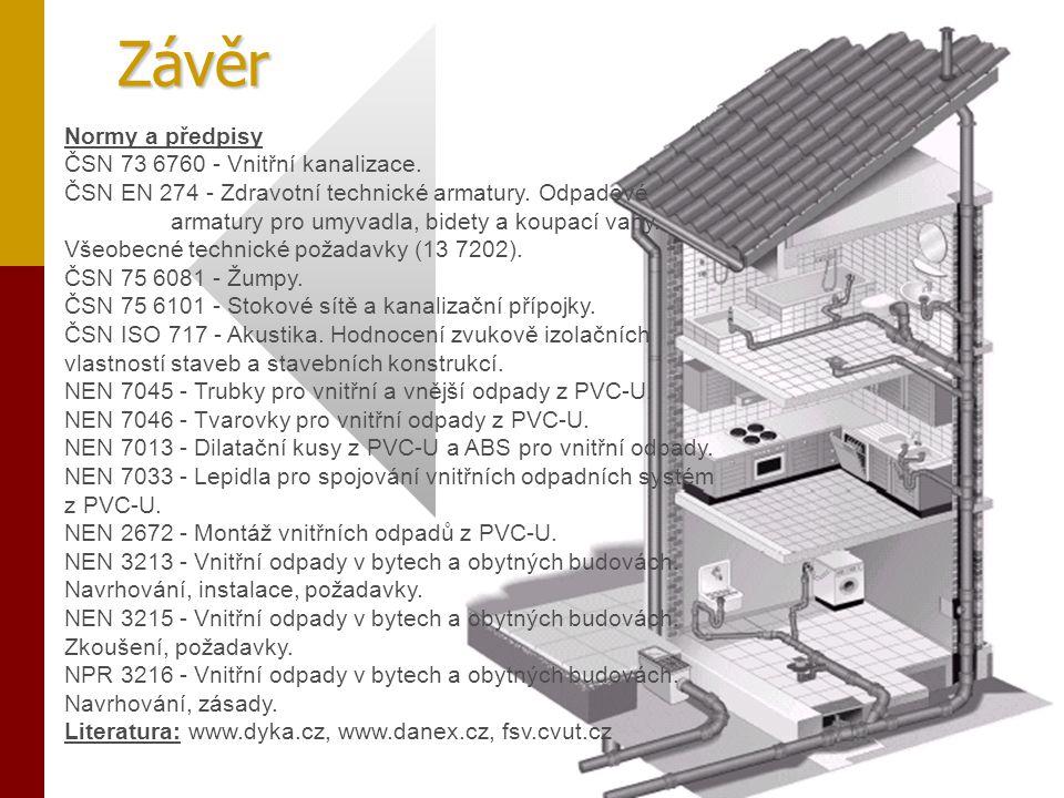 Závěr Normy a předpisy ČSN 73 6760 - Vnitřní kanalizace. ČSN EN 274 - Zdravotní technické armatury. Odpadové armatury pro umyvadla, bidety a koupací v