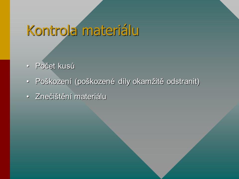Kontrola materiálu Počet kusůPočet kusů Poškození (poškozené díly okamžitě odstranit)Poškození (poškozené díly okamžitě odstranit) Znečištění materiál