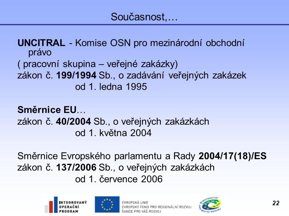 22 Současnost,… UNCITRAL - Komise OSN pro mezinárodní obchodní právo ( pracovní skupina – veřejné zakázky) zákon č. 199/1994 Sb., o zadávání veřejných