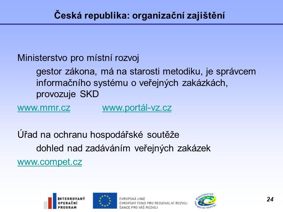 24 Česká republika: organizační zajištění Ministerstvo pro místní rozvoj gestor zákona, má na starosti metodiku, je správcem informačního systému o ve