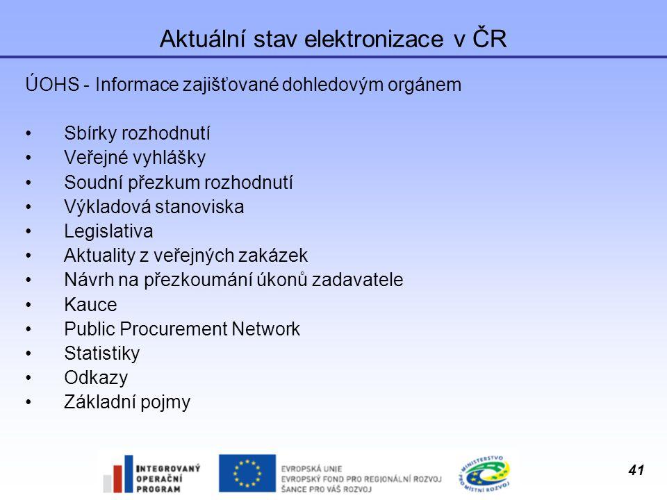 41 Aktuální stav elektronizace v ČR ÚOHS - Informace zajišťované dohledovým orgánem Sbírky rozhodnutí Veřejné vyhlášky Soudní přezkum rozhodnutí Výkla