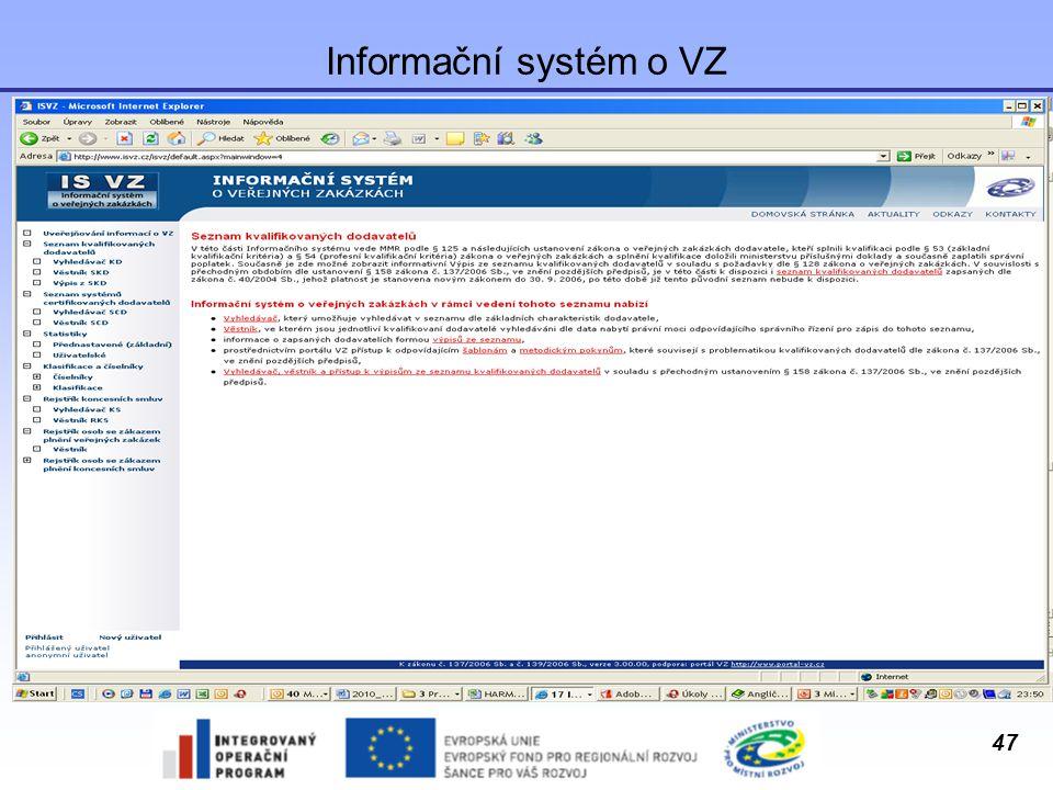 47 Informační systém o VZ