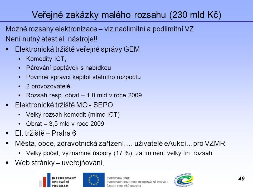 49 Veřejné zakázky malého rozsahu (230 mld Kč) Možné rozsahy elektronizace – viz nadlimitní a podlimitní VZ Není nutný atest el. nástroje!!  Elektron