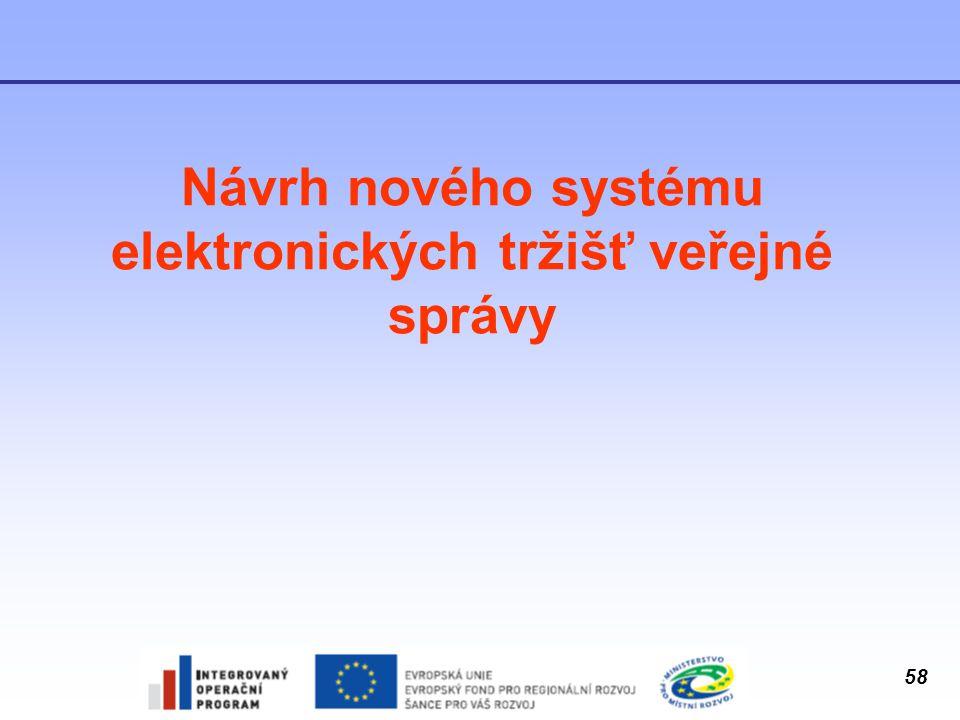 58 Návrh nového systému elektronických tržišť veřejné správy