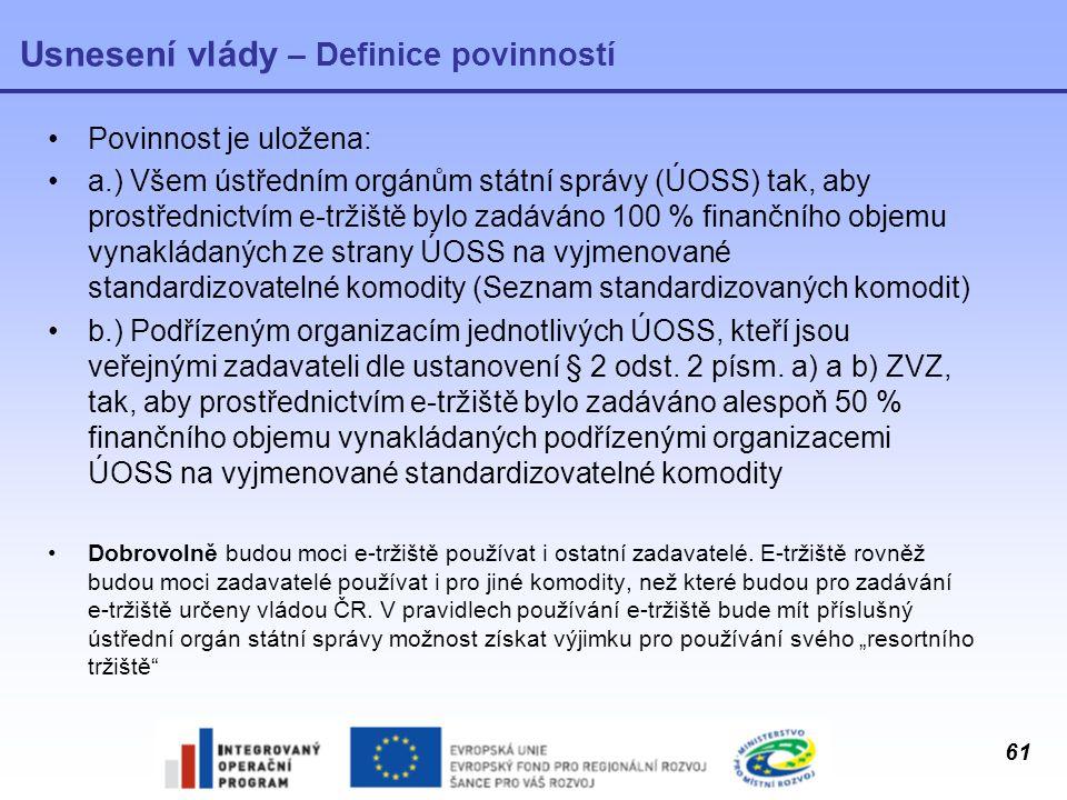 61 Usnesení vlády – Definice povinností Povinnost je uložena: a.) Všem ústředním orgánům státní správy (ÚOSS) tak, aby prostřednictvím e-tržiště bylo