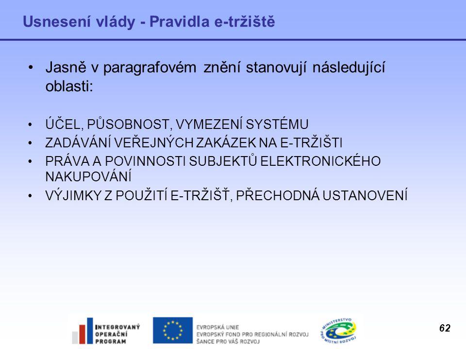 62 Usnesení vlády - Pravidla e-tržiště Jasně v paragrafovém znění stanovují následující oblasti: ÚČEL, PŮSOBNOST, VYMEZENÍ SYSTÉMU ZADÁVÁNÍ VEŘEJNÝCH