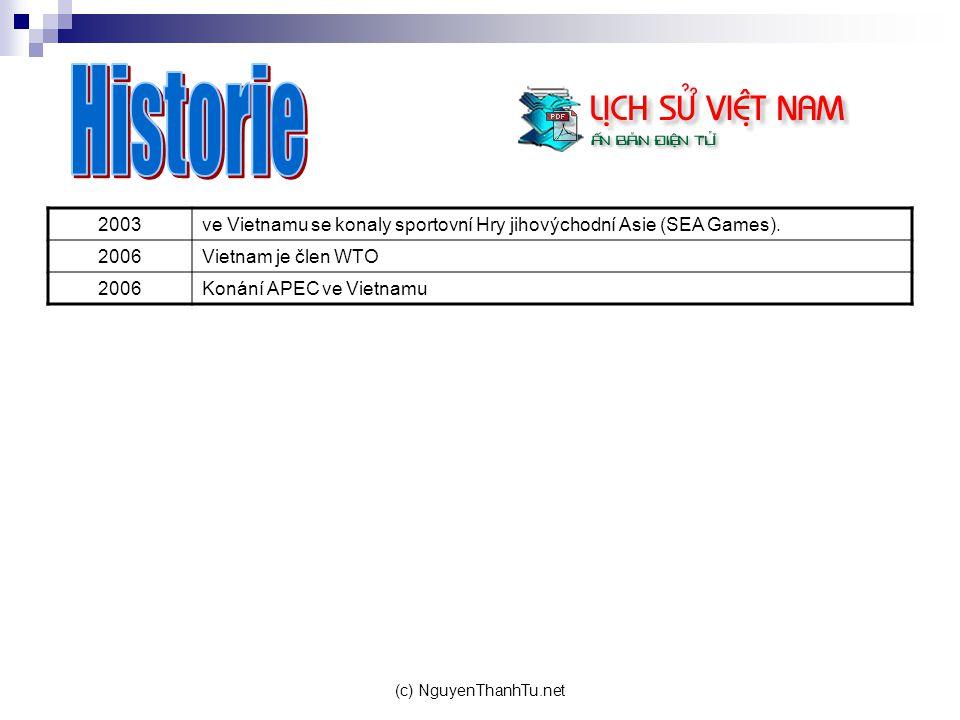 (c) NguyenThanhTu.net 2003ve Vietnamu se konaly sportovní Hry jihovýchodní Asie (SEA Games). 2006Vietnam je člen WTO 2006Konání APEC ve Vietnamu