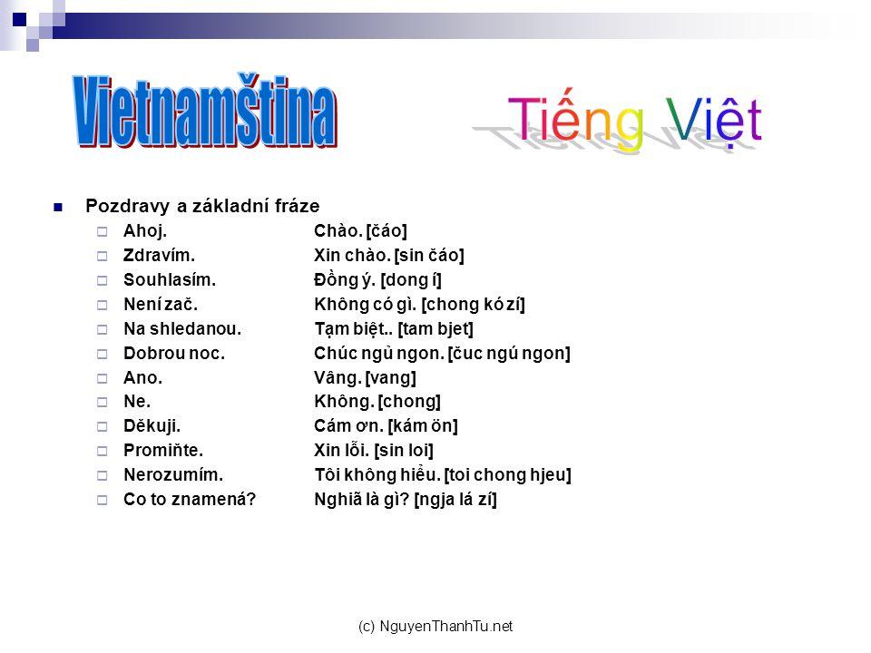 (c) NguyenThanhTu.net Pozdravy a základní fráze  Ahoj.Chào. [čáo]  Zdravím.Xin chào. [sin čáo]  Souhlasím.Đồng ý. [dong í]  Není zač.Không có
