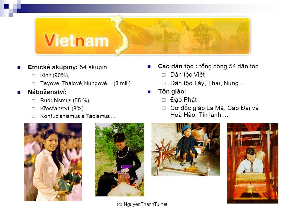 (c) NguyenThanhTu.net Etnické skupiny: 54 skupin  Kinh (90%),  Tayové, Tháiové, Nungové... (8 mil.) Náboženství:  Buddhismus (55 %)  Křesťanství.