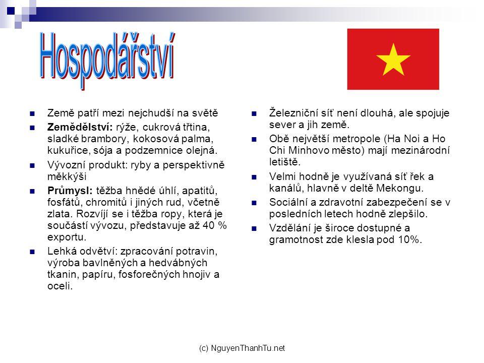 (c) NguyenThanhTu.net Země patří mezi nejchudší na světě Zemědělství: rýže, cukrová třtina, sladké brambory, kokosová palma, kukuřice, sója a podzemni