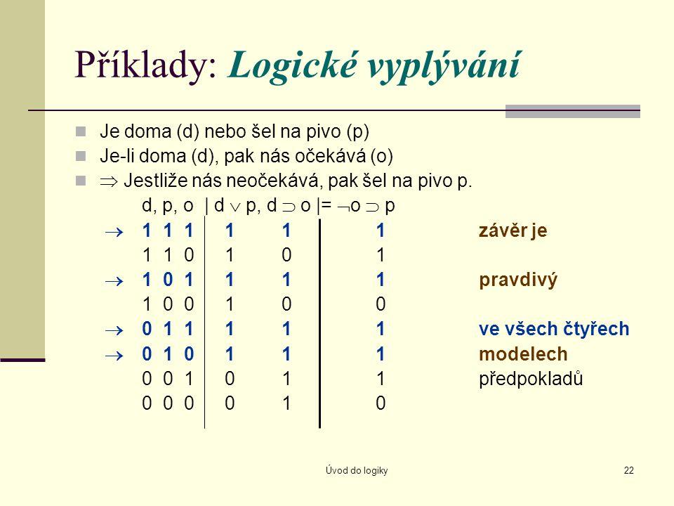 Úvod do logiky22 Příklady: Logické vyplývání Je doma (d) nebo šel na pivo (p) Je-li doma (d), pak nás očekává (o)  Jestliže nás neočekává, pak šel na